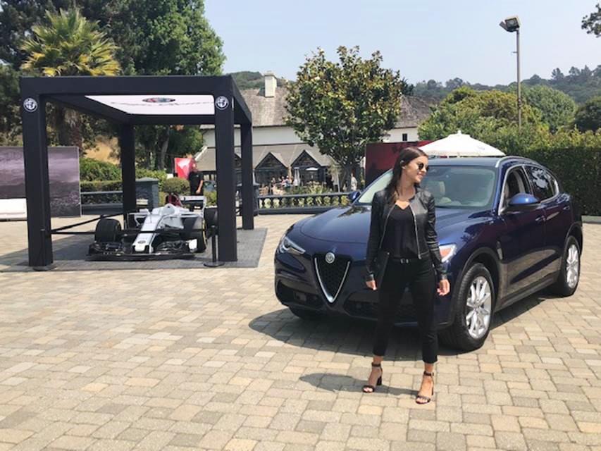Alfa Romeo courtyard display featuring C37 2018 Alfa Romeo Sauber F1 Team Race Car at Folktale Winery