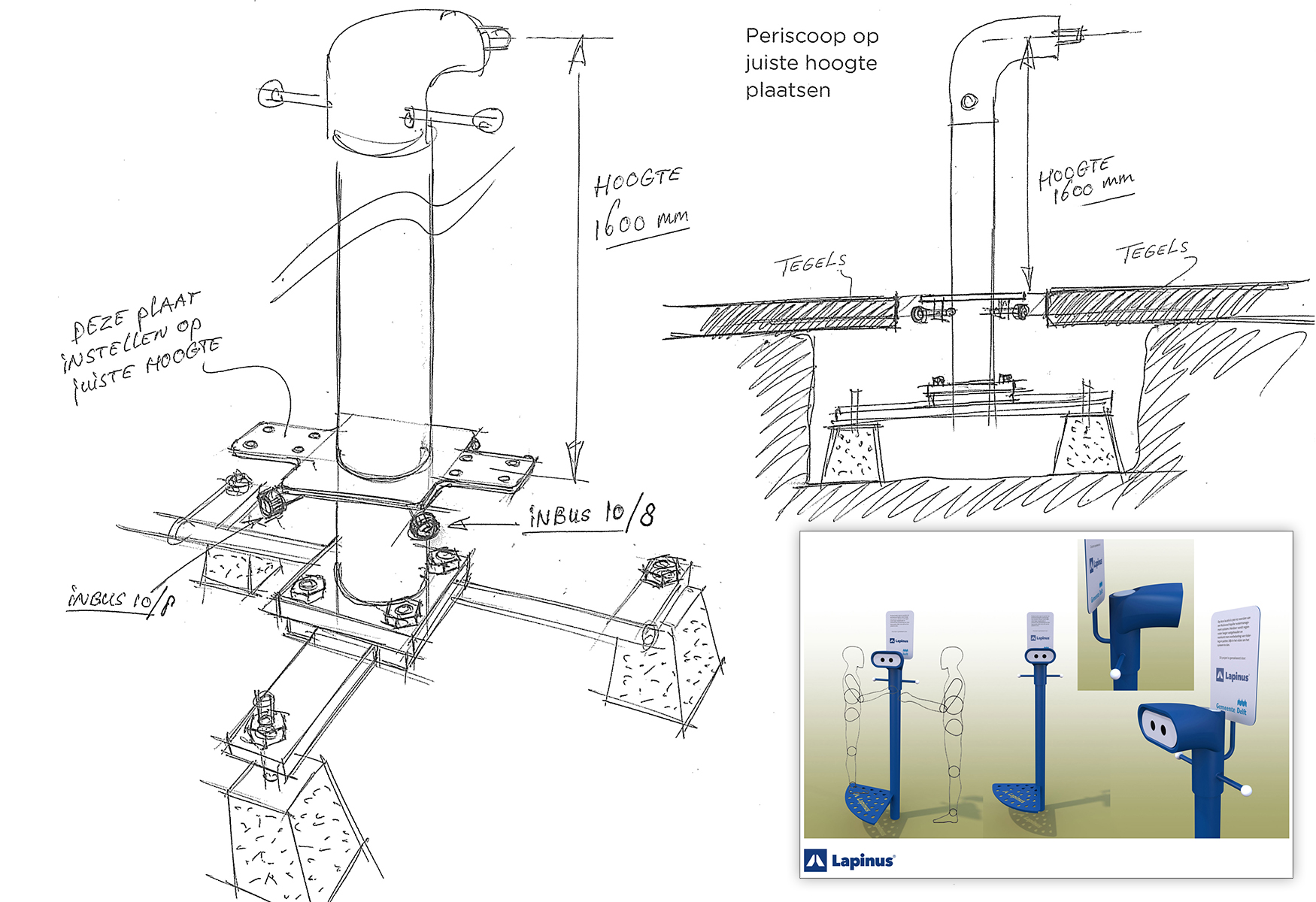 "Design for the Lapinus Periscope, installed to show ""the story beneath the scenes."""