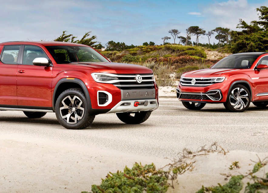 Volkswagen Atlas Tanoak Concept (left) and Atlas Cross Sport
